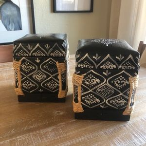 Black Painted Bohemian Wood Boxes w/ Woven Detail